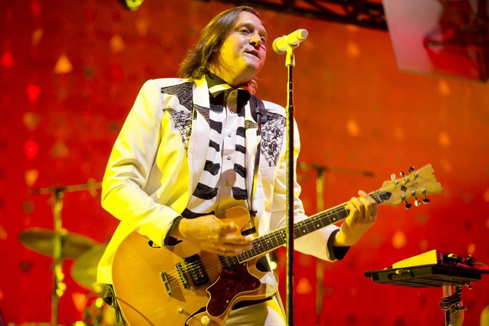 Win Butler of Arcade Fire in concert at Xfinity Center in Mansfield, Mass.