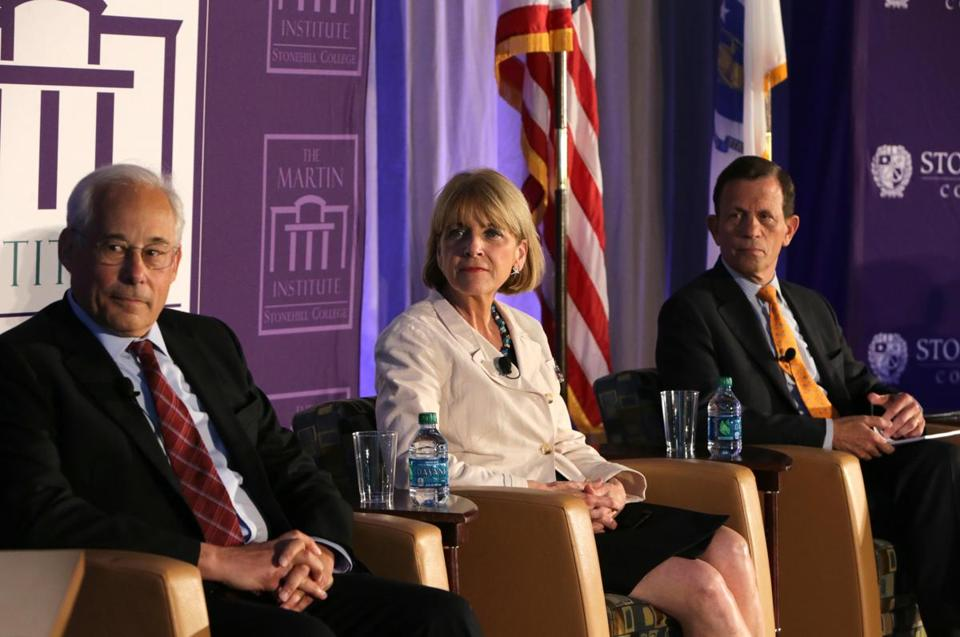 Democratic gubernatorial candidates Donald Berwick, Martha Coakley, and Steven Grossman were at Stonehill College Tuesday.