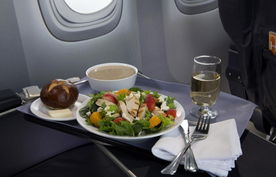 Strawberry Fields Salad is one of the new first-class food selections offered by United Airlines, which announced in 2014 that it's upgrading first-class food options and replacing snacks with full meals on some of its shortest flights.