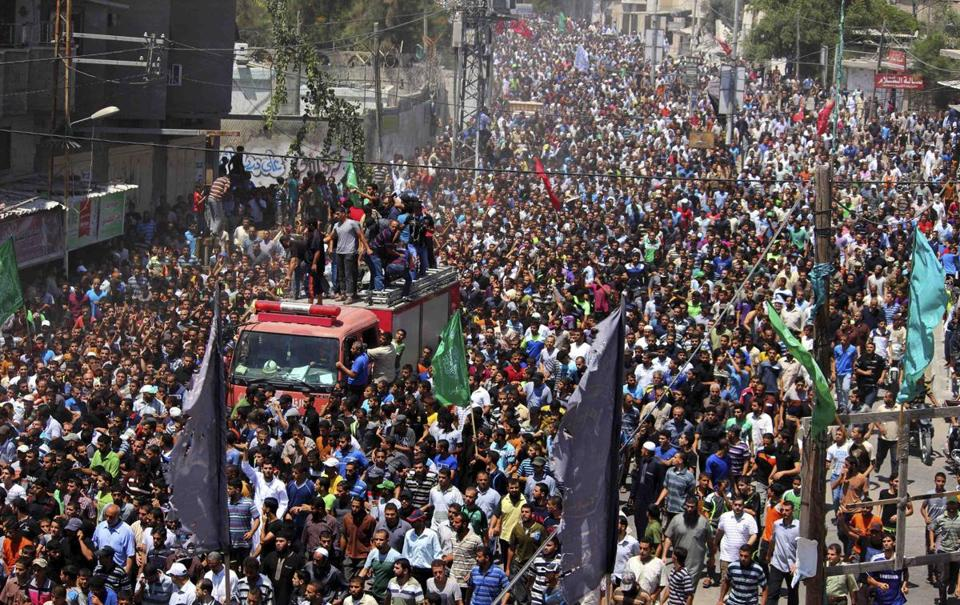 About 10,000 Palestinians marched during the funeral of the three commanders in Rafah, Gaza, on Thursday. Their deaths have both tactical and morale-breaking ramifications.