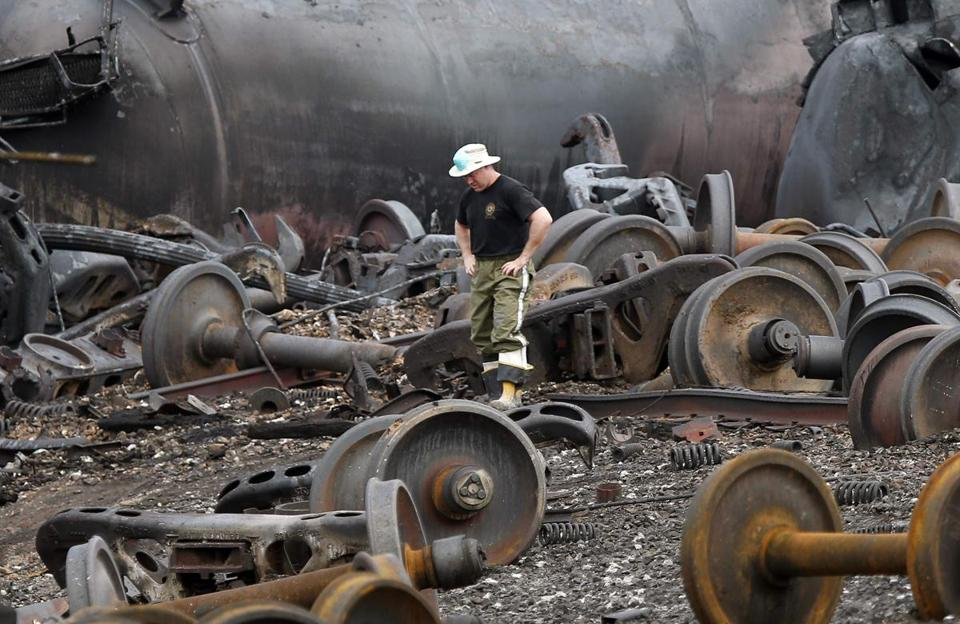 The wreckage from an oil-train crash in Quebec last year.