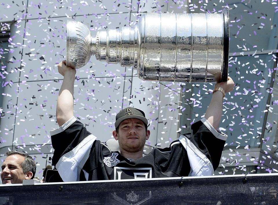 "Jonathan Quick, a quick study of the ""reverse VH"" goaltending technique, has backstopped the Kings to two Stanley Cup titles in the last three years. (Photo by Kevork Djansezian/Getty Images)"