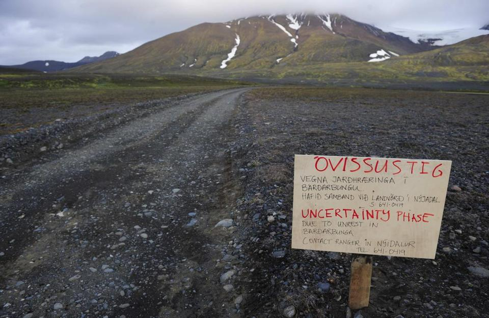 A warning sign blocked the road to Bardarbunga volcano in Iceland.