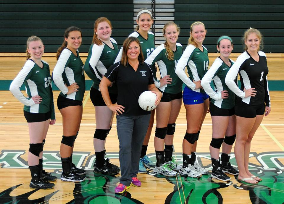 Duxbury High girls' volleyball coach Pam Thomas is backed up by a core of seniors — (from left) Olivia Ivanof, Cara Vetsch, Catherine Harrison, Molly Quilty, Mackenzie Bright, Kitty Hunter, Rachel Tierney, and Samantha Chaisson — who are returning from last fall's 20-1 squad.