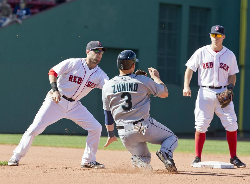 Mike Zunino is picked off and tagged out by Dustin Pedroia during sixth inning.