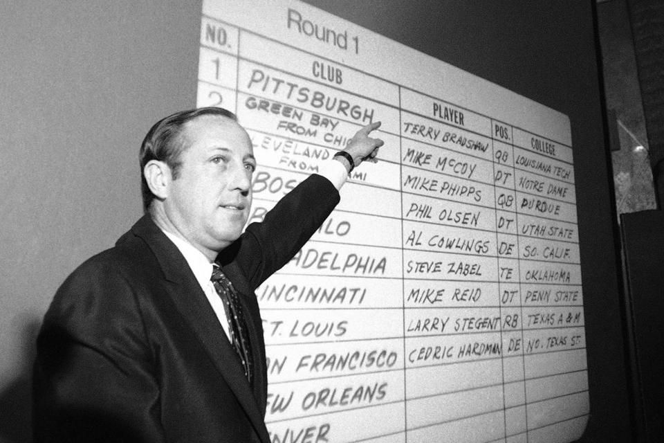 In 1970, the NFL Draft was a low-key affair run by Pete Rozelle — who oversaw the first televised draft in 1980.