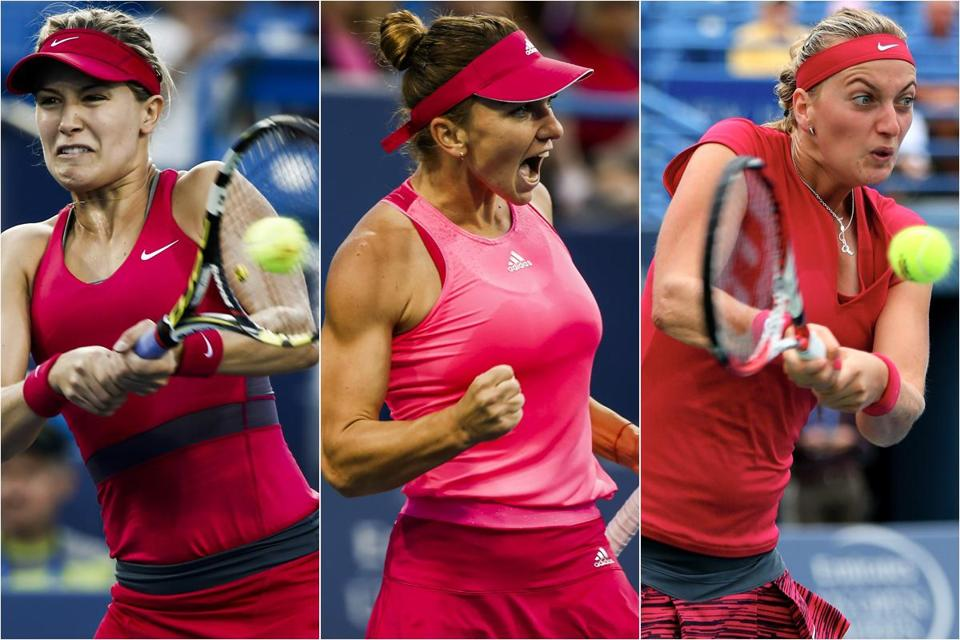 (From left to right) The women: Eugenie Bouchard, 20, of Canada; Simona Halep, 22, of Romania; and Petra Kvitova, 24, of Czech Republic.