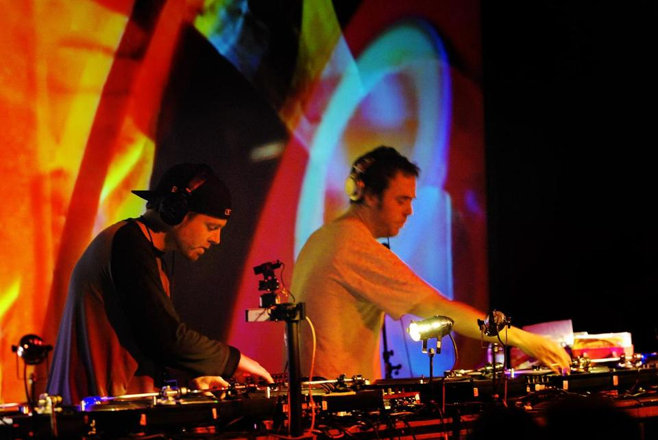 DJ Shadown (left) and Cut Chemist were invted to make use of albums from Afrika Bambaataa's collection.
