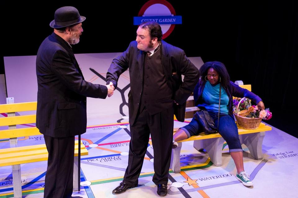 "From left: Tom Beyer, Chris Chiampa, and Jaclyn Johnson in the Flat Earth Theatre production of  ""Pygmalion."""