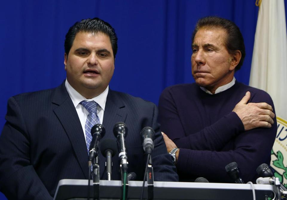 Everett Mayor Carlo DeMaria (left), shown with casino mogul Steve Wynn, is facing claims of sexual harassment.