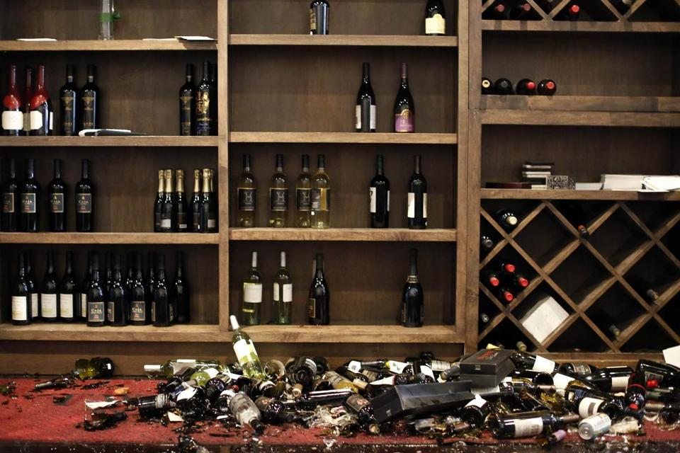 Wine bottles fell and smashed at a wine bar in Napa, Calif.