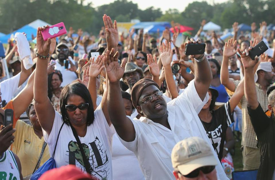 People attended Peace Fest Sunday in Forest Park in St. Louis where Michael Brown spoke to guests. Brown is the father of Michael Brown Jr., who was shot and killed by a police officer in nearby Ferguson, Mo., on Aug. 9.