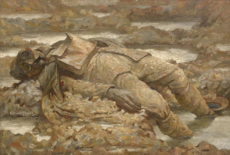 """Gassed: In Arduis Fidelis"" (1919) is by Gilbert Rogers, a portraitist who served in France in the Royal Army Medical Corps. Its motto was ""Faithful in Adversity."""