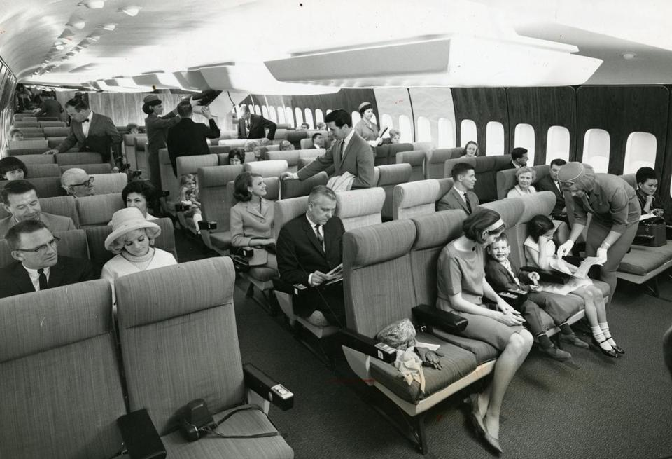 ", as depicted in photographs from Keith Lovegrove's book ""Airline: Style at 30,000 Feet"" (right and below). The era has been romanticized in television series such as ""Mad Men"" (above) and movies such as ""Catch Me If You Can"" (below right)."