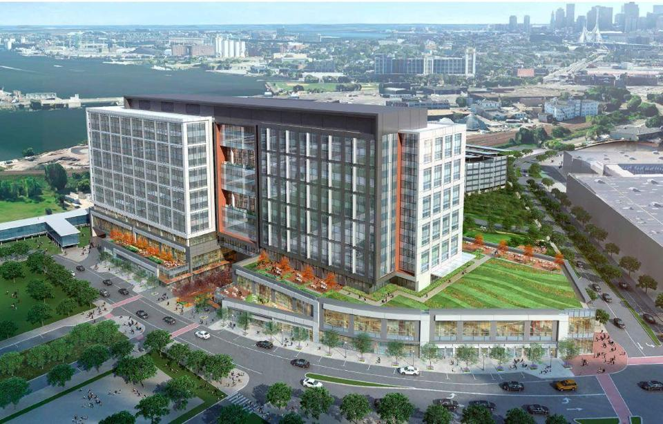 A rendering of the new offices for Partners HealthCare proposed for Assembly Square in Somerville.