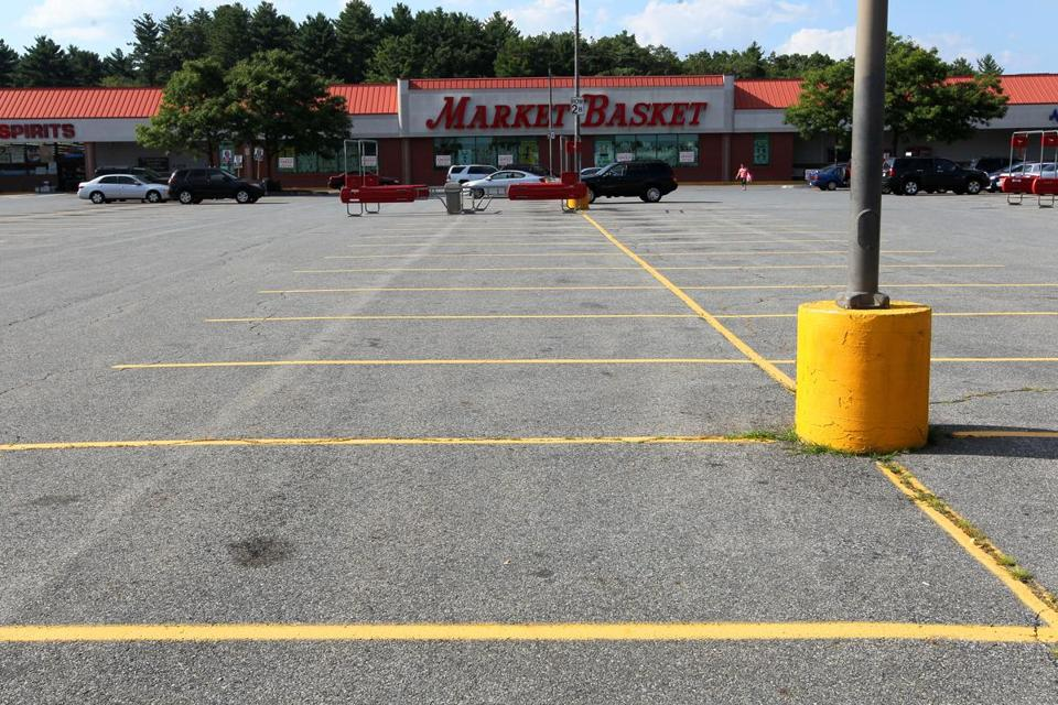 The parking lot at Market Basket was empty in Tewksbury.