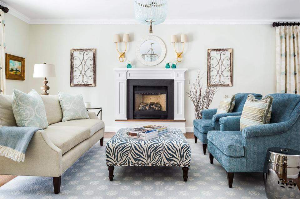 A Dark Living Room Refreshed With Cream And Teal The