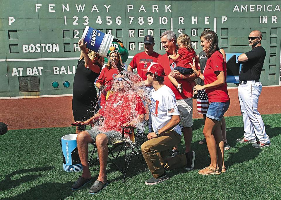 Peter Frates was showered with ice water at Fenway last month.