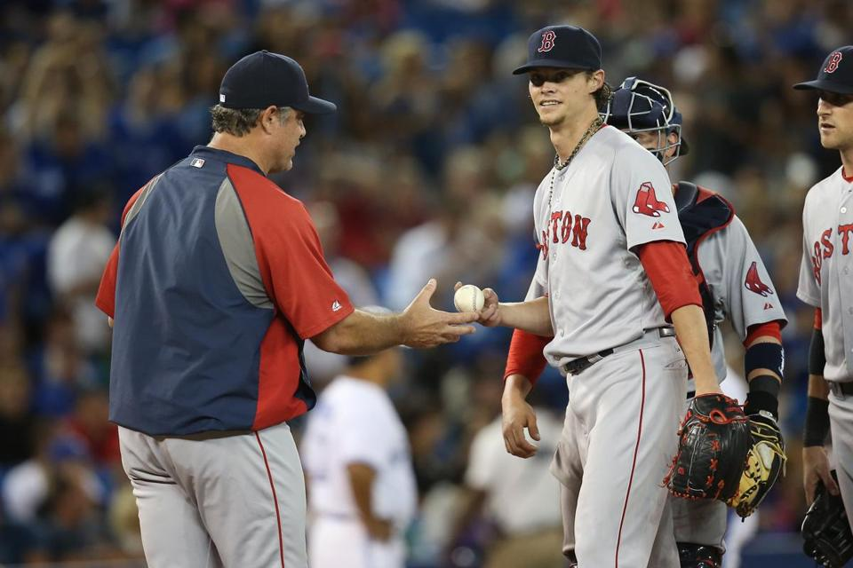 Clay Buchholz was lifted from the game in the ninth inning Monday.