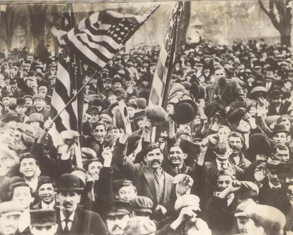 The first days of the textile strike in Lawrence, 1912.