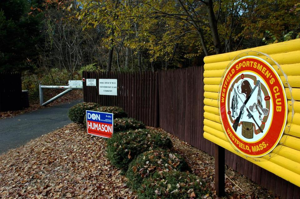 The locked aluminum gate (left) is seen at the main entrance to the Westfield Sportman's Club on Furrowton Road in Westfield, Mass., in this 2008 photo.