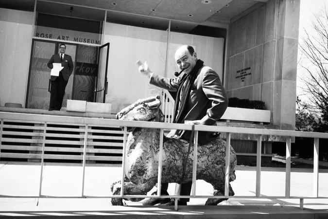 At Brandeis University, Mr. Hunter was the Rose Art Museum's founding director. He sat on a sculpture by his friend Larry Rivers at an opening in 1965.