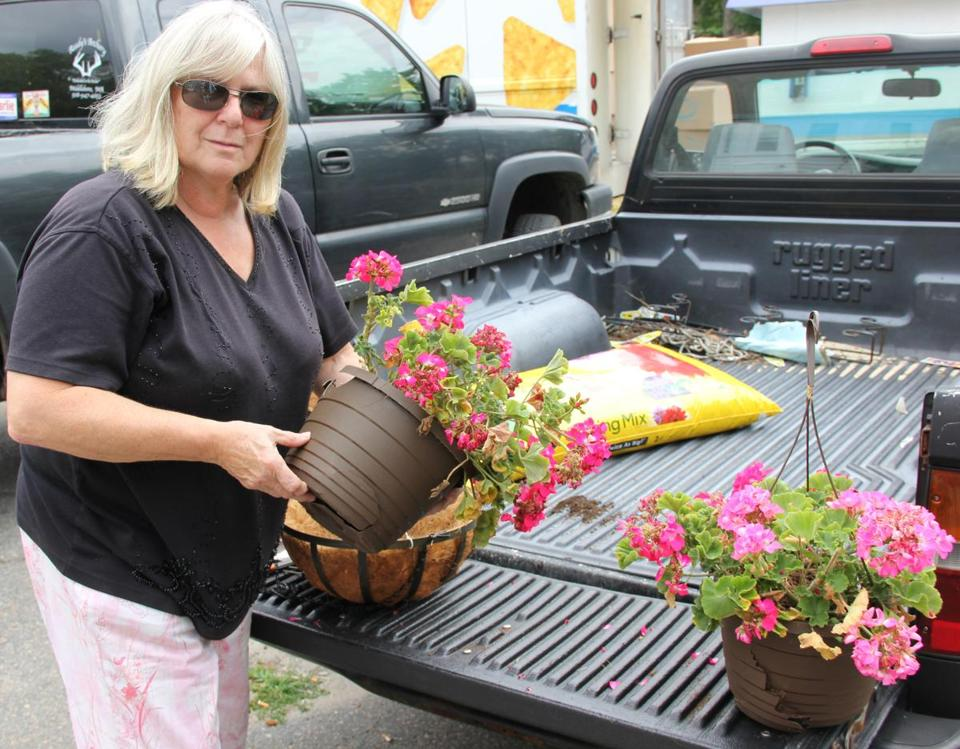 Mimi Duphily, who has beautified Middleborough for the past six years, shows some of the damaged flower pots.