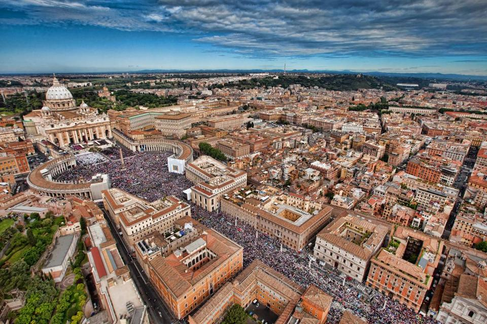 An aerial view of St. Peter's Square.