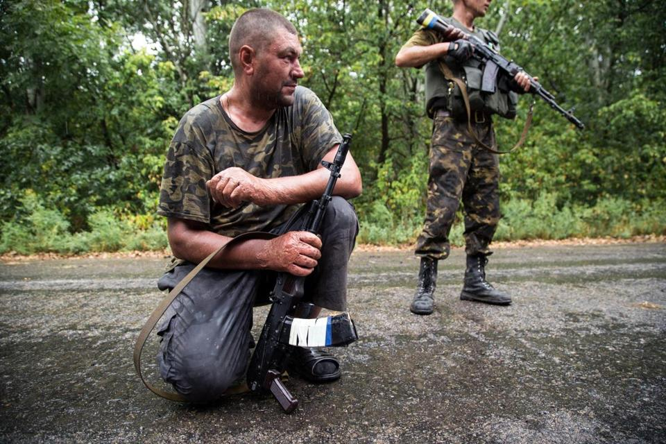 Ukrainian troops did a search of the area after being shot by pro-Russian fighters near the city of Dzerzhynsk on Thursday.