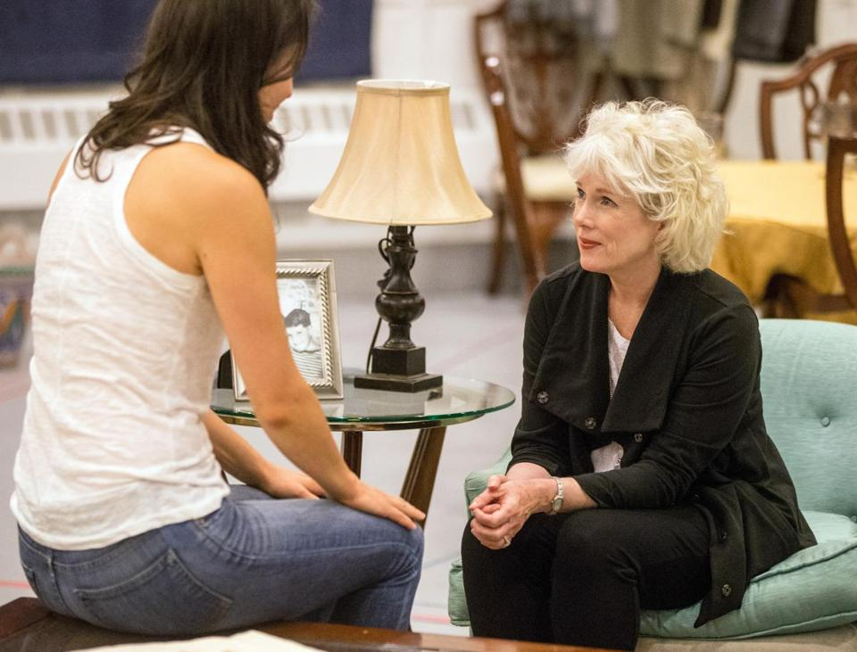 "08/21/2014 BOSTON, MA Actors Meredith Forlenza (cq) (left) and Julia Duffy (cq) rehearsed for ""Guess Who's Coming To Dinner"" at the Huntington Theatre Company (cq) in Boston. (Aram Boghosian for The Boston Globe)"