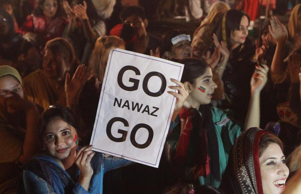 Supporters of former cricket star Imran Khan rallied against Pakistan's ruling government in Lahore on Thursday.