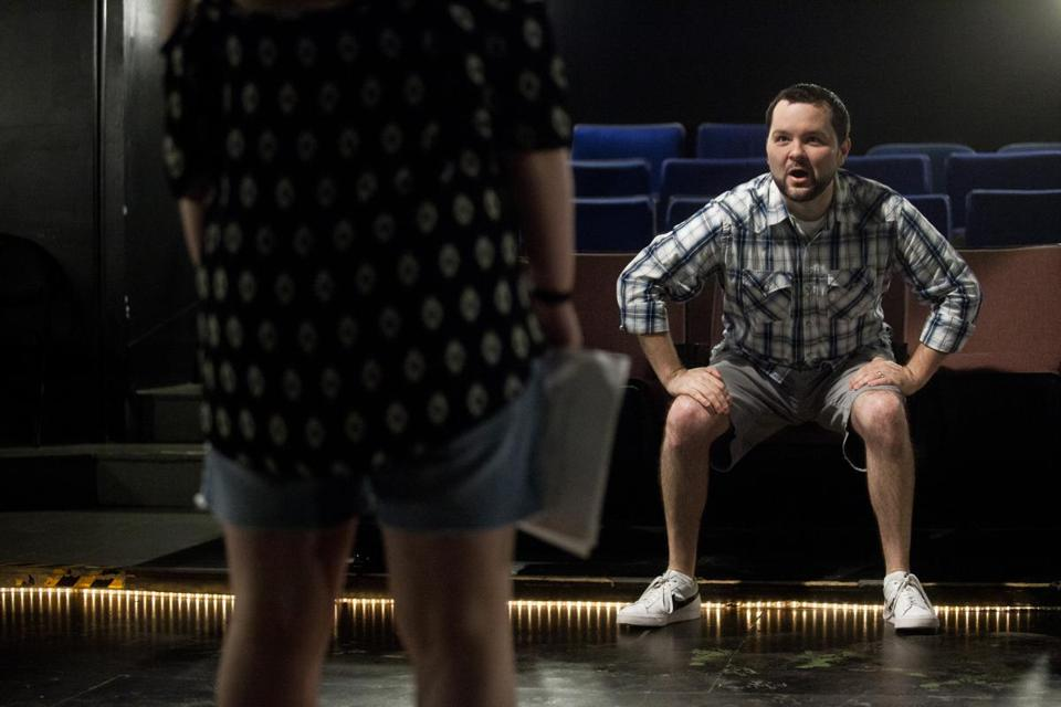At the Davis Square Theatre in Somerville, actor and former teacher Joseph Marrella coached Kat Meyer, 17, through preparations for college auditions.