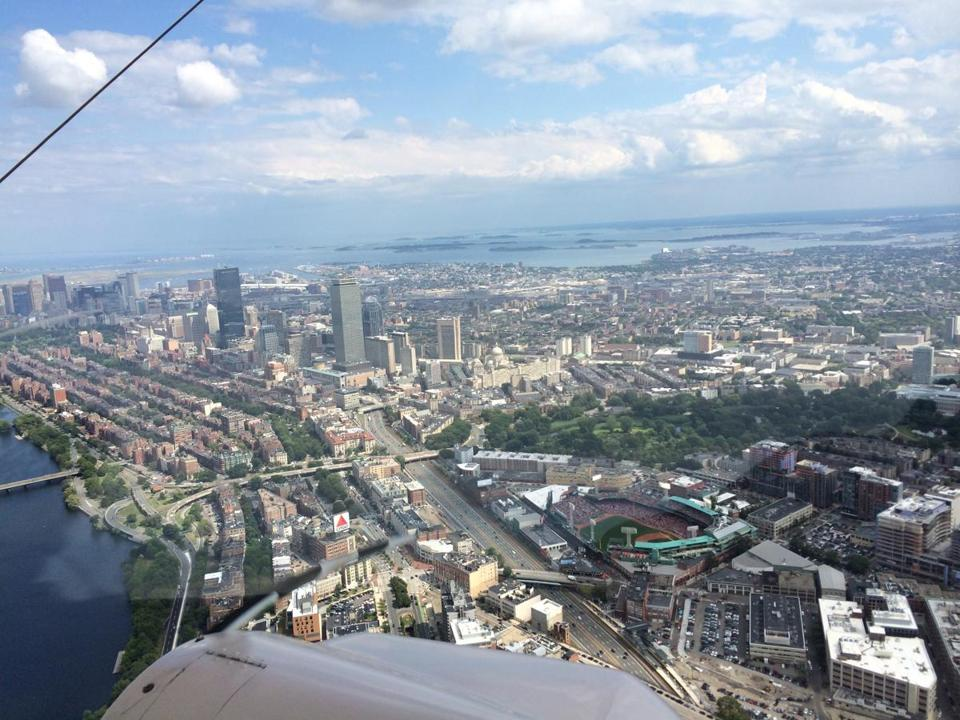 A view of Boston from the blimp.