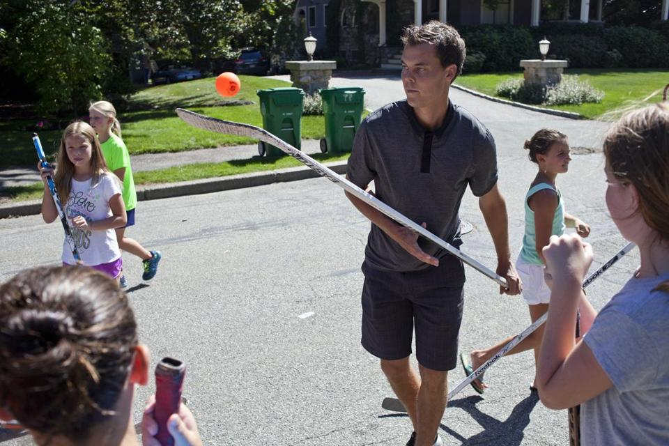 Bruins goalie Tuukka Rask played forward and defense in a street hockey scrimmage Saturday with Newton youngsters.