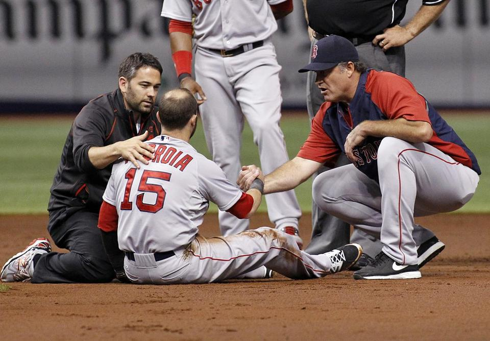 Dustin Pedroia was helped by trainer Brad Pearson (left) and John Farrell after an elbow to his head. Pedroia had concussion symptoms.