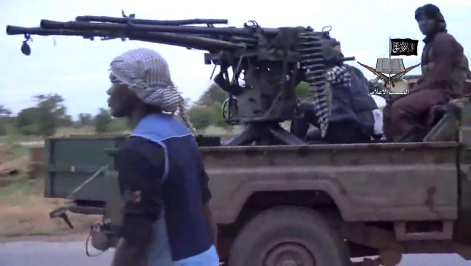 This screenshot taken Aug. 24 from a video released by the Nigerian Islamist extremist group Boko Haram shows alleged members of the group at an undisclosed location.