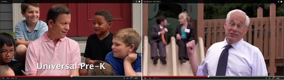 "Steve Grossman (left) has run mostly positive TV ads. One spot emphasizes his support for universal pre-kindergarten in the state. At right, a Don Berwick ad, which his campaign said is set to begin airing Tuesday, shows two children, dressed up as Martha Coakley and Steve Grossman, who ""play politics."""
