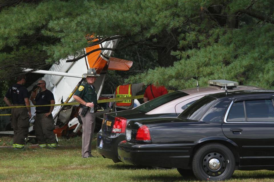 The plane crashed about a football field's length from the Airfield Cafe in North Hampton, New Hampshire.