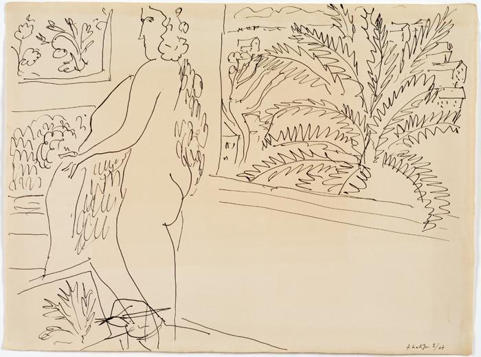 "Mount Holyoke College Art Museum Matisse Drawings: Curated by Ellsworth Kelly from The Pierre and Tana Matisse Foundation Collection 30 August - 14 December 2014 Henri Matisse, Nu � la fen�tre (Nude at a window), 1944, pen and ink on paper. All images should be credited as follows: ""Courtesy The Tana and Pierre Matisse Foundation, Images © 2014, Succession H. Matisse/Artist Rights Society (ARS), New York. 07matisse"