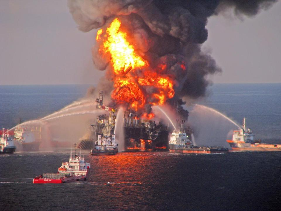 A fire aboard the mobile offshore oil drilling unit Deepwater Horizon led to the 2010 oil spill in the Gulf of Mexico.