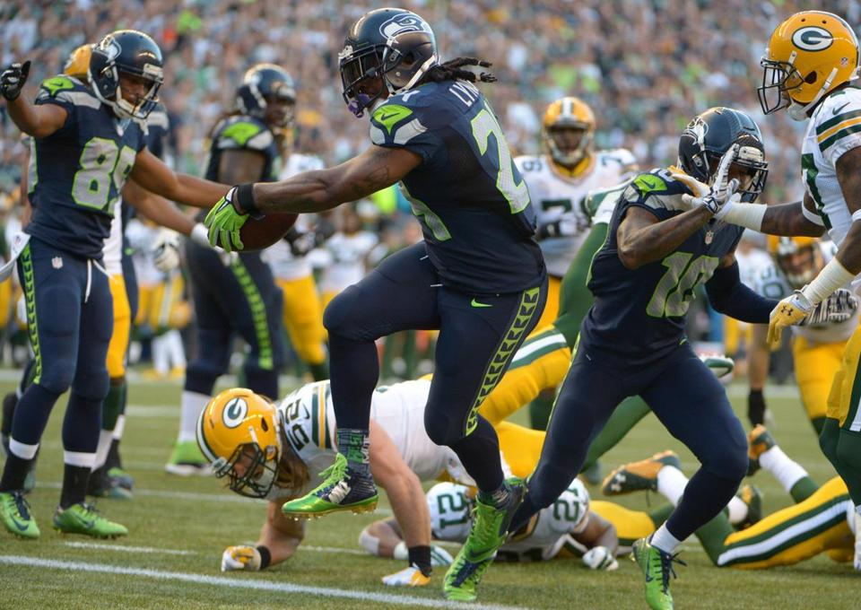 Marshawn Lynch scored a 9-yard touchdown in the second quarter.