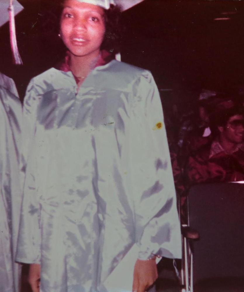 Phyllis Ellison, pictured at her 1977 graduation from South Boston High School, rode the bus as a 14-year-old from Roxbury.