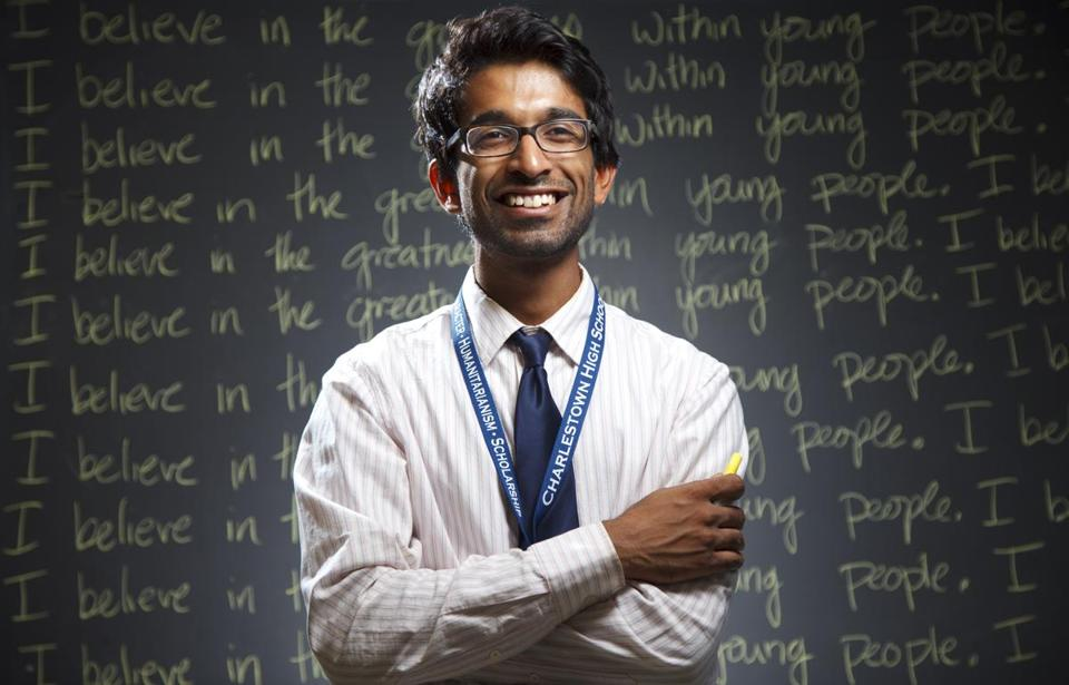 9/8/14 - Charlestown, MA - Dinesh Ayyappan is a physics teacher at Charlestown High School. Topic: 100514teachers - Dina Rudick/Globe Staff