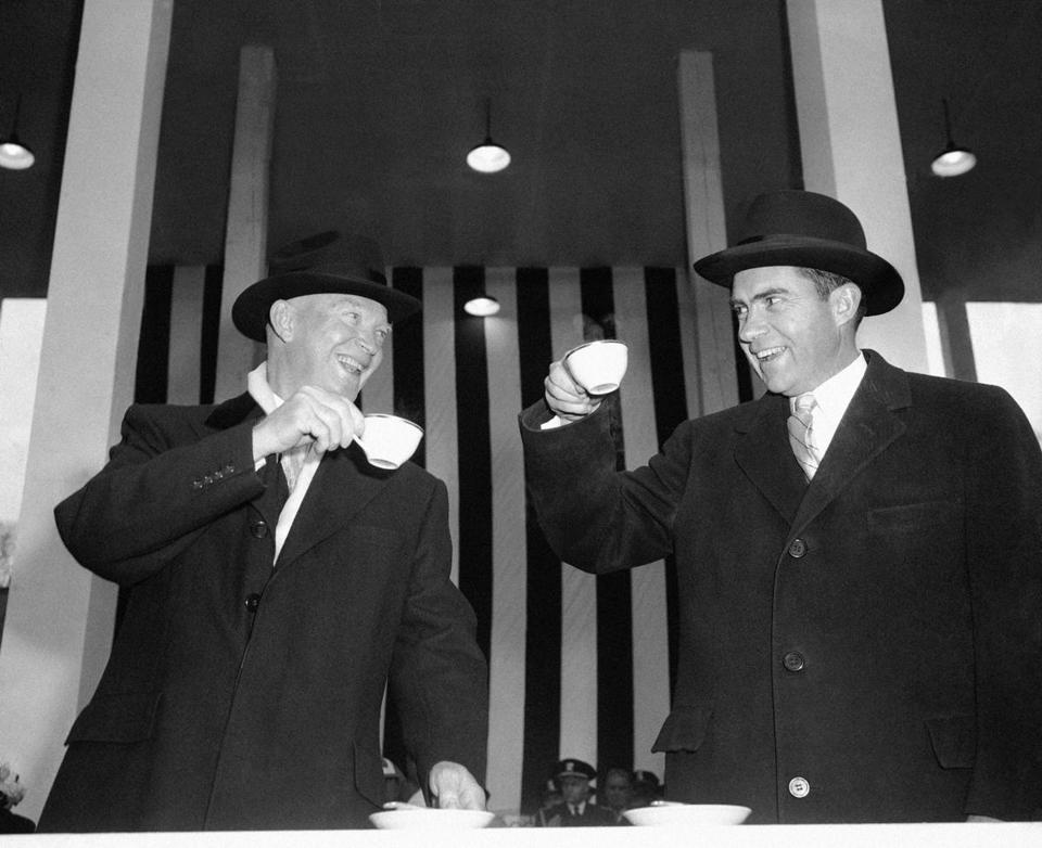 President Dwight Eisenhower and Vice President Richard Nixon appeared to be toasting one another over cups of hot coffee in Washington, D.C., on Jan. 21, 1957.