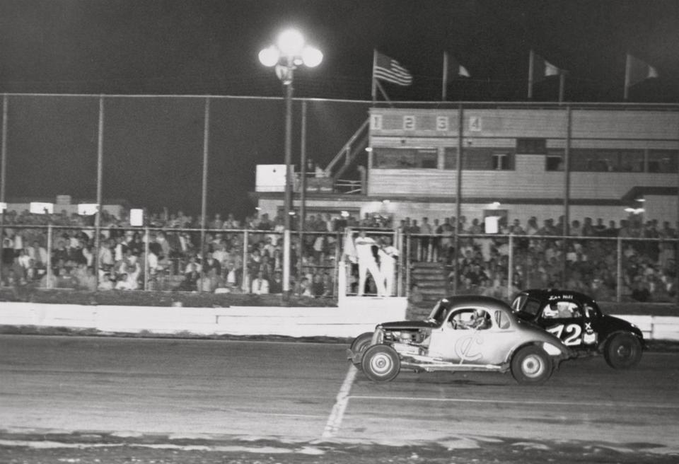 "Scenes from ""Norwood Arena — The Movie""  showing the speedway that operated from 1948 to 1972."