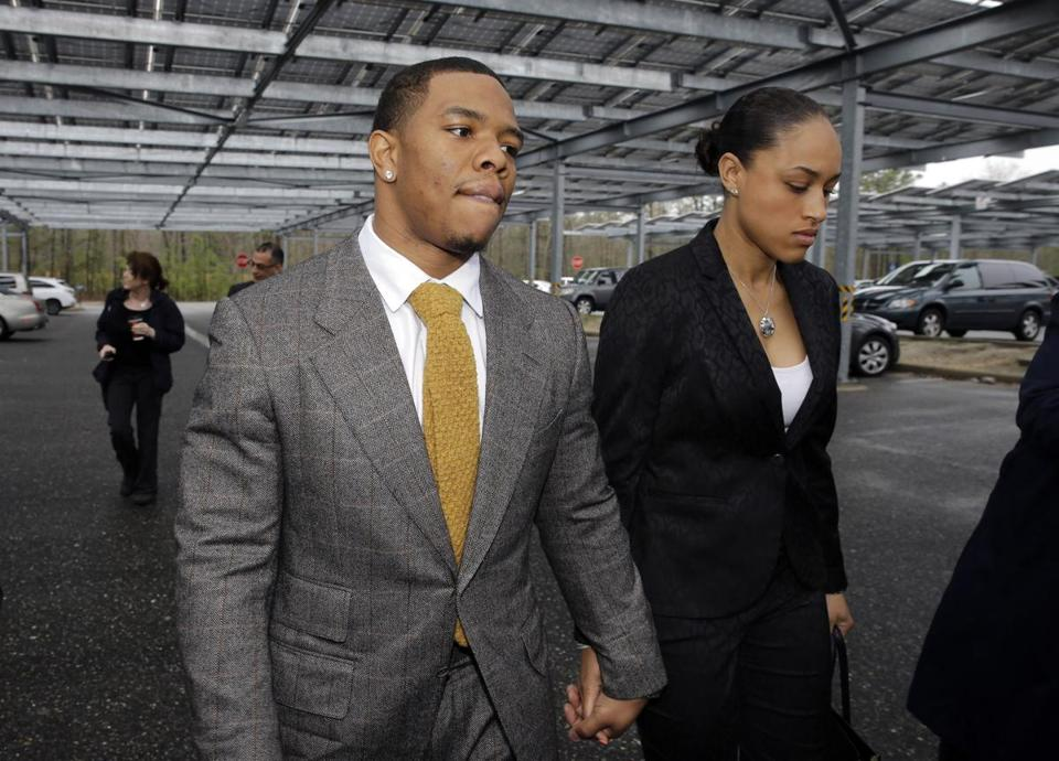 Ray Rice held hands with his wife, Janay Rice, as they arrived at the courthouse in Atlantic City in May.