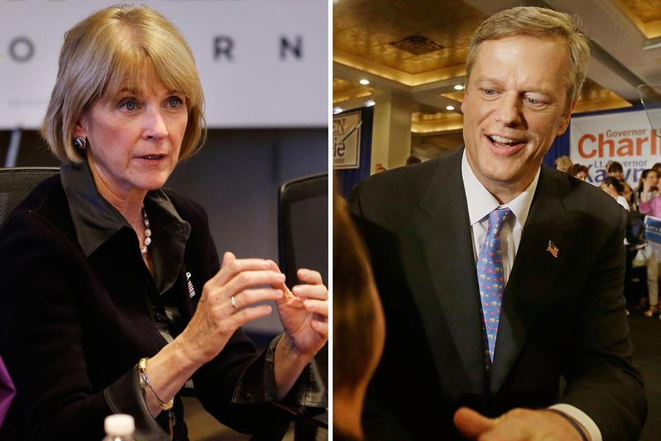 Gubernatorial candidates Martha Coakley (left) and Charlie Baker