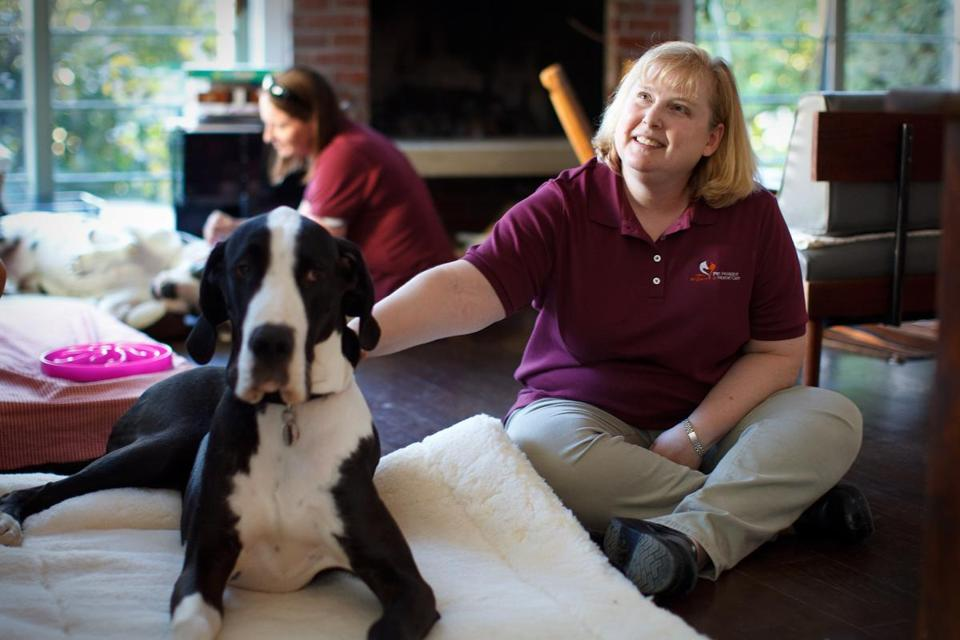 Heather Merrill, New England Pet Hospice founder, and Nancy Whitlock (rear)  at client Amy Farber's Cambridge home. Farber's other dog Ray died this summer at 17.
