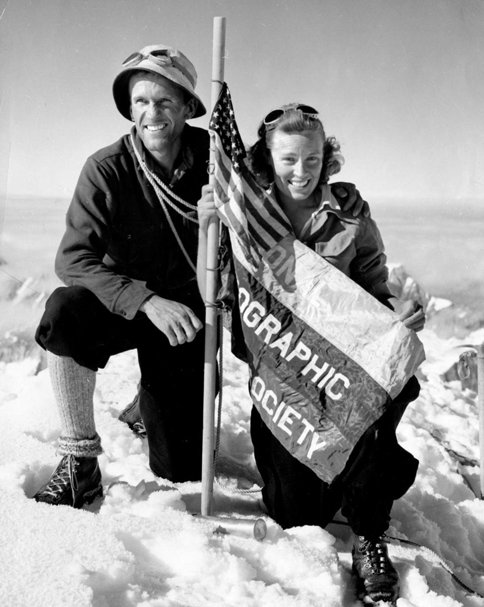 Bradford and Barbara Washburn were recipients of the National Geographic Society's prestigious Alexander Graham Bell medal, which was given for geographic research. Pictured: The Washburns atop Mt. Bertha in 1940.