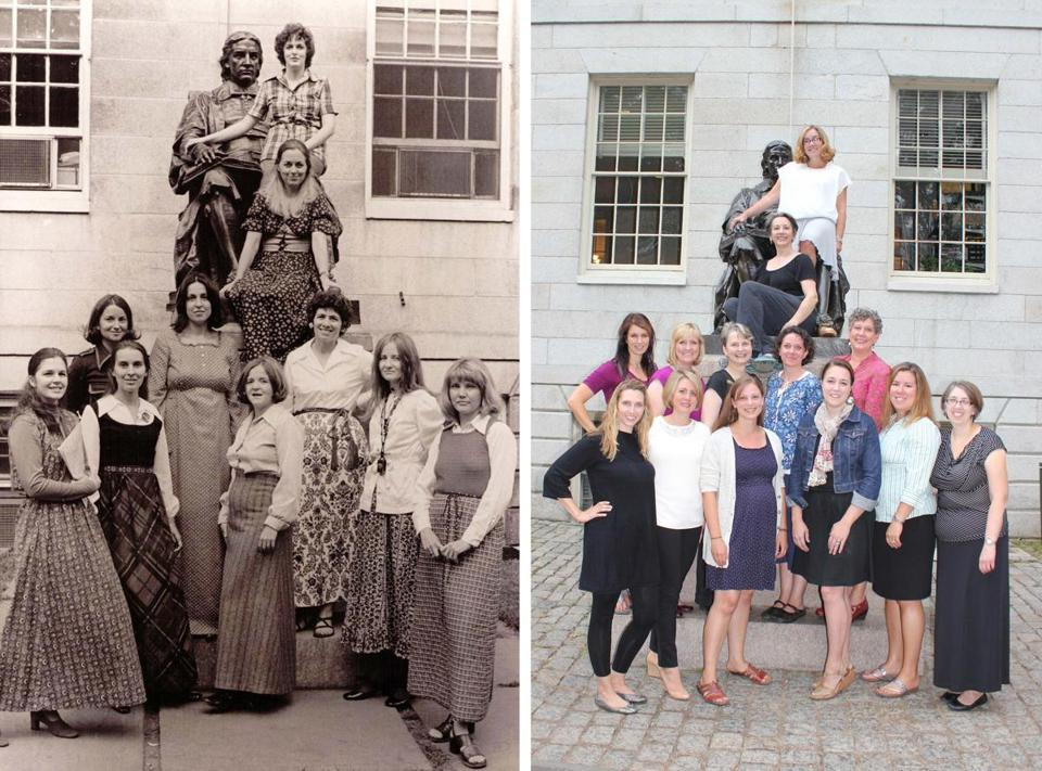 The editorial boards of Exponent II magazine in 1974 and this year. When Mormon feminists held their annual retreat this year, it attracted women from 26 states and three foreign countries. It sold out in 36 hours.
